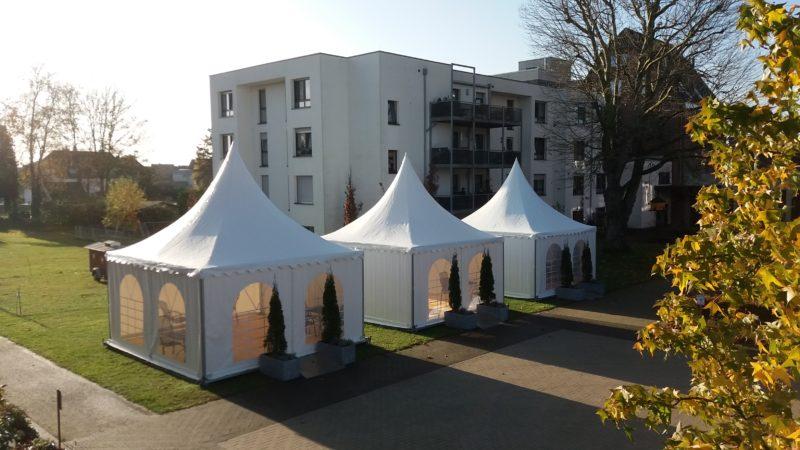 Auch die Begrünung der Besucher-Pavillons wurde nun geliefert (12. November 2020)