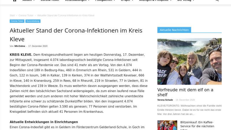 Mehrere Indexfälle im Agnesheim Rees (Niederrhein Nachrichten, 17. Dezember 2020)